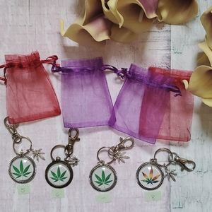 Handmade Hemp Leaf Keychains